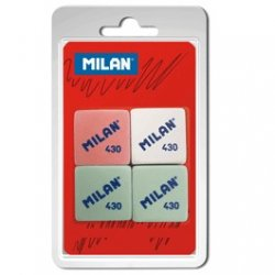 Gomas de borrar MILAN 430. Paq 4 uds