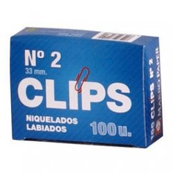 Clip niquelados 32 mm. Caja 100 clips