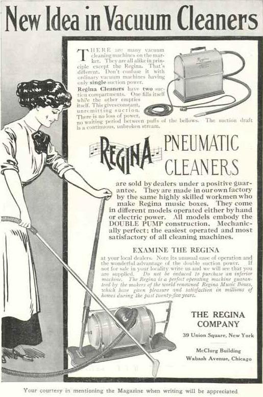 Primeras aspiradoras domesticas. By The Regina Company (The National Geographic Magazine) [Public domain], via Wikimedia Commons
