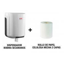 Pack dispensador bobinas secamanos y rollo papel mecha 2 capas
