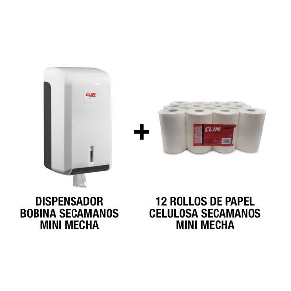 Pack dispensador papel mini mecha y 12 rollos secamanos 2 capas