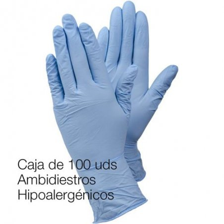 Guante de nitrilo sensible sin polvo. Paquete 100 uds.