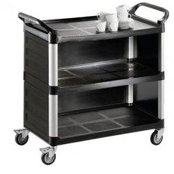 Carro de servicio panelado para transporte de platos y utensilios