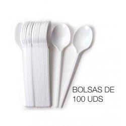 Cucharas desechables PS blanco en bolsas de 100 uds