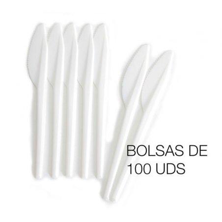 Cuchillo desechables de plástico PS. Bolsas de 100 uds