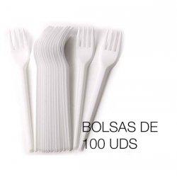 Tenedores desechables en PS blanco. Bolsas de 100 uds