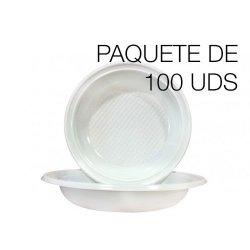 Platos hondos desechables de plástico. Paquete de 100 uds