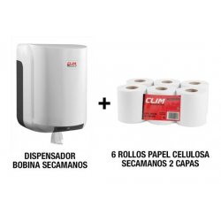 Pack dispensador bobinas secamanos papel mecha y 6 rollos