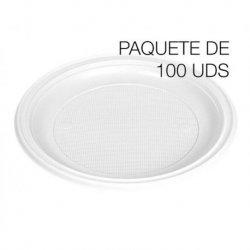 Platos de postre desechables en plástico blanco. 17cm. Bolsa 100