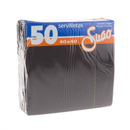 Servilletas 40x40 textura Micropunto. Pack 50 uds. Negro