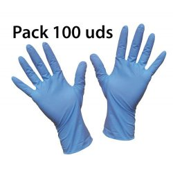 Guante de vinilo azul sin polvo. Paquete 100 uds.