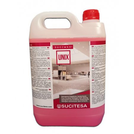 Detergente con ceras autobrillante para fregadora. Botella 5 litros