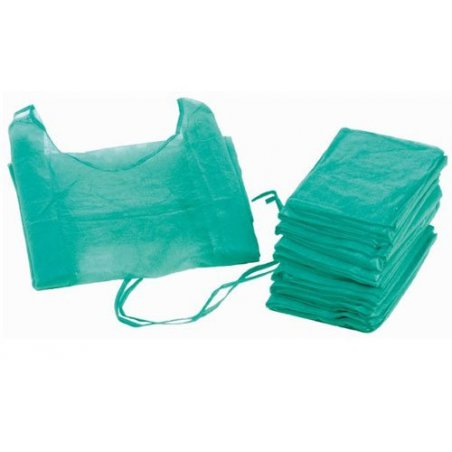 Bata hospitalaria desechable verde con puño elástico de algodón. Pack 100 uds