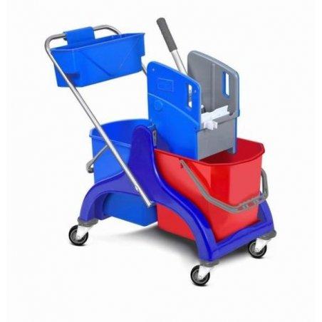 Carro de fregado con doble cubo de 25L, prensa y cesta