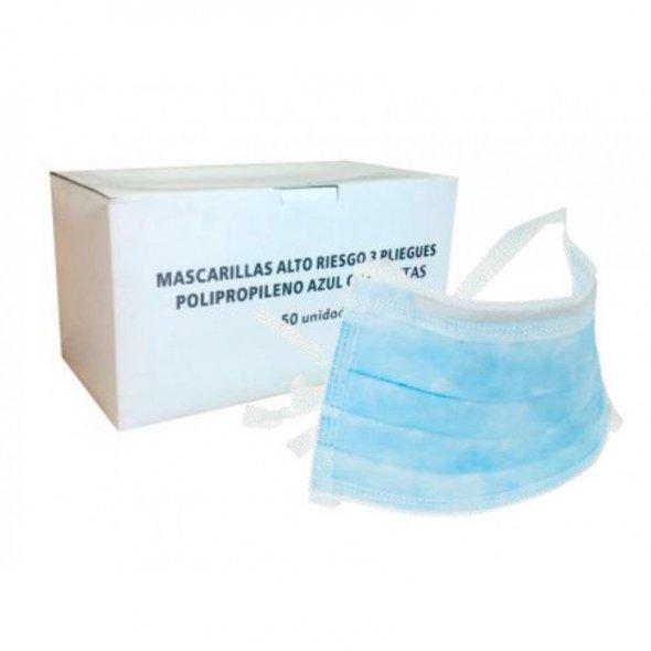Mascarilla desechable Azul 3 pliegues ajuste cintas. Pack 1000 uds