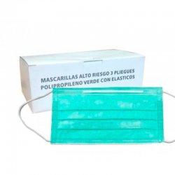 Mascarilla desechable Verde 3 pliegues ajuste gomas. Pack 100 uds