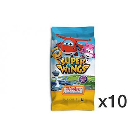 Toallitas húmedas infantiles Super wings Caja 10 packs de 20 uds