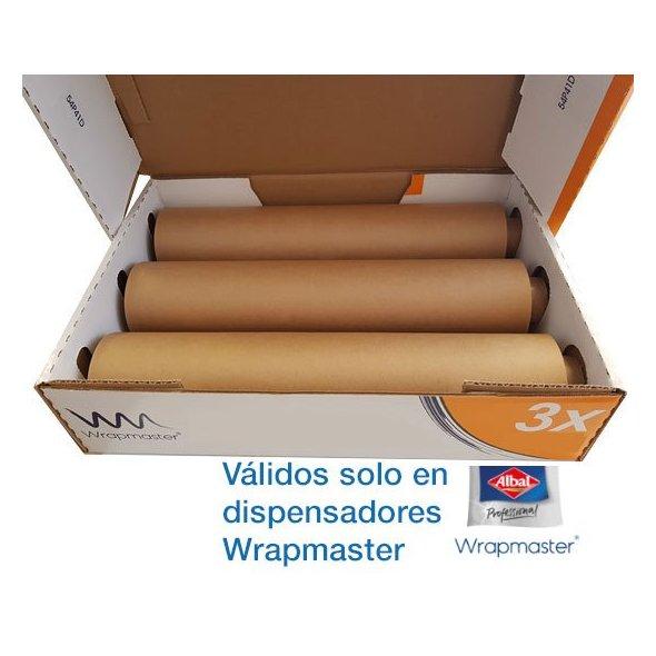 Papel de horno 45 cm para dispensador Wrapmaster Albal. Pack 3 uds