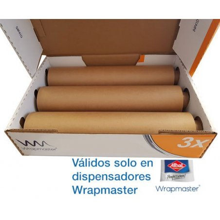 Papel de horno 45 cm para dispensador Wrapmaster Albal. Pack 3 uds