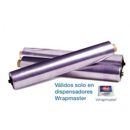 Papel film 45 cm para dispensador Wrapmaster Albal. Pack 3 uds