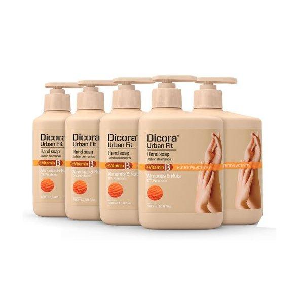 Dicora Urban Fit Jabón de Manos Vitamina B Almonds & Nuts - 500 ml. Pack 5