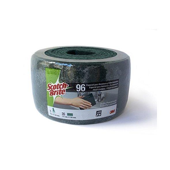 Rollo de estropajo fibra verde 3M™ Scotch-Brite™ 96 limpieza general precortado 134 mm x 6 m