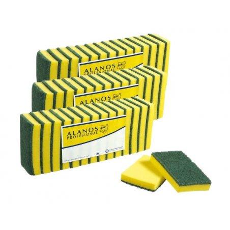 Estropajo de fibra verde con esponja 15x10 cm 14 uds