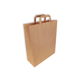 Bolsa de papel Kraft con asas plana. 50 uds.