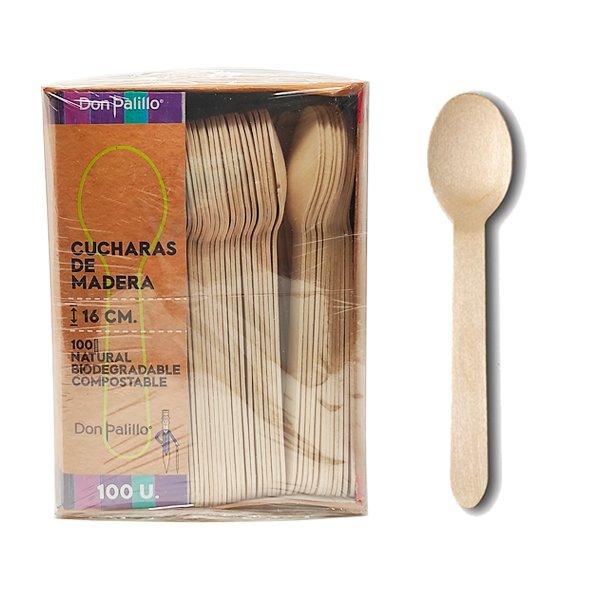 cucharas de madera biodegradables en pack de 500 unidades