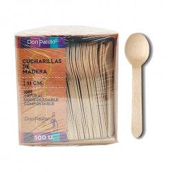 cucharillas de madera biodegradables en pack de 500 unidades.