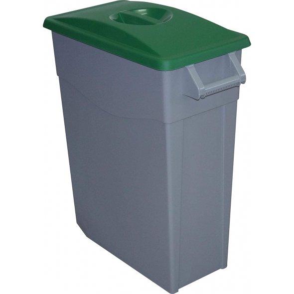 contenedor de basura con tapa cerrada verde de 65 litros de capacidad.