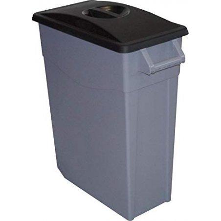 Cubo de basura color negro con tapa cerrada de 65 litros de capacidad