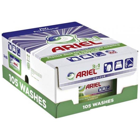 Detergente Ariel en cápsulas. Pack de 3x35 cápsulas.