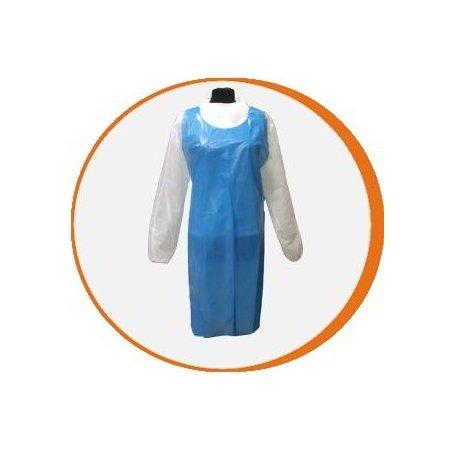 Delantal desechable azul Polietileno. Caja de 1000 uds