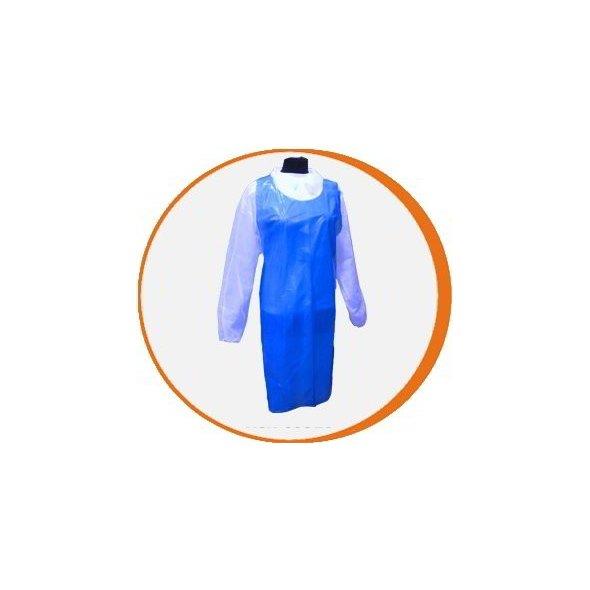 Delantal desechable azul Polietileno alta resistencia. Pack 500 uds