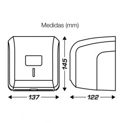 Medidas dispensador CLIMLINE papel higiénico en hojas o rollo doméstico
