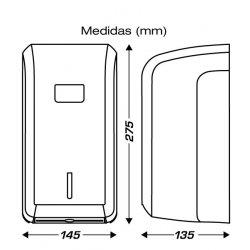 Medidas dispensador ClimLine para bobinas mini secamanos de papel mecha.