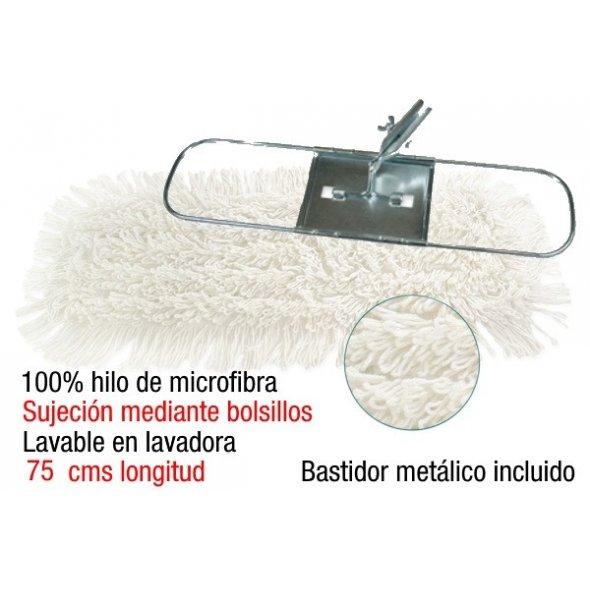 Mopa plana industrial de microfibra 15x75 cms con bastidor metálico