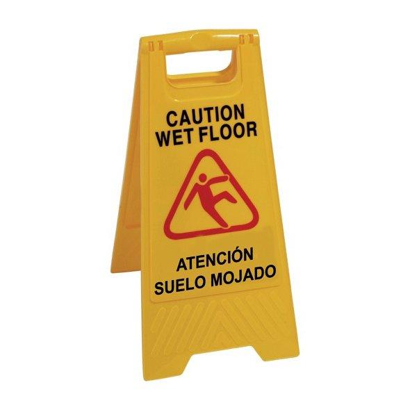 Señal advertencia de pavimento mojado