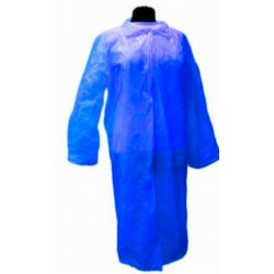 Bata desechable azul polietileno. Cierre corchetes