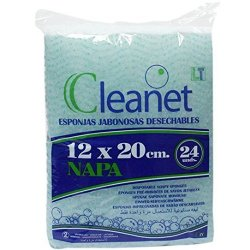 Esponjas jabonosas desechables de napa Cleanet. 12x20cms. 240 unidades