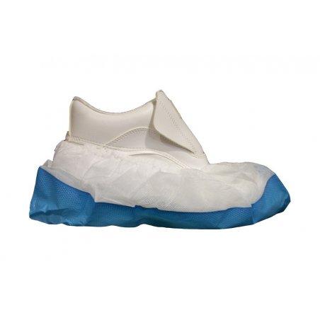 Cubrecalzado desechable suela resistente PP Azul/Blanco. Pack 100 uds