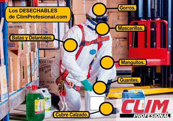 Los productos desechables de ClimProfesional para la limpieza y la higiene.