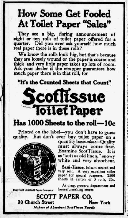 Anuncio Papel higiénico de 1915 Scott Paper Company